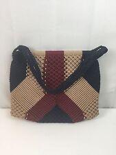 Vtg 1970s Macrame Lined Woven Purse Blue Red Tan Bag Handbag