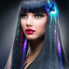 LED Colorful Butterfly Flashing Hair Braid Extensions Lights Up Novelty