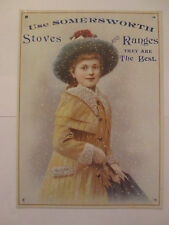 """Victorian Somersworth Stoves and Ranges Metal Sign 6""""x 8"""" Advertising Repro"""