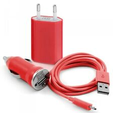 Usb mains charger 3en1 data red for samsung: i5700 galaxy spica/galaxy