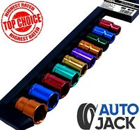 "1/2"" Drive Metric Socket Set 10 Piece 13mm - 24mm Multi Coloured Sockets + Rail"