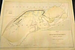 RARE LARGE Antique Map of the Deep River District NORTH CAROLINA 1859 FRAMEABLE