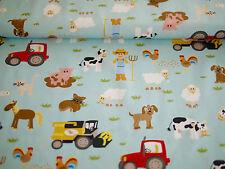 HILCO Stoff, Baumwolle, BW-Popeline,HAPPY FARM, Kinderstoff, Bauernhoftiere