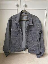 Calvin Klein Jeans Black White Striped Denim Jacket - Medium