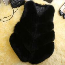 UK Faux Fox Fur Waistcoat Women's Warm Gilet Outwear Long Slim Vest Jacket Coat Black L