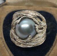 Vintage Sterling Silver Ring 925 Size 7 Pearl Israel Modernist Brutalist