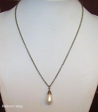 "Large White Pearl Teardrop Pendant 20"" Bronze Chain Necklace in Gift Bag"