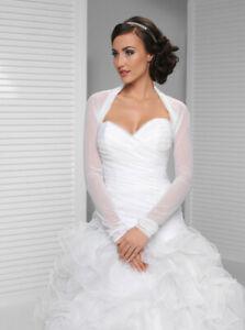 Brautjacke Bolero Tüll Weiss Ivory Creme NEU Hochzeit Bridal Chiffon langarm