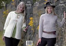 King Cole Chunky Knitting Pattern 3073: Jacket & Sweater
