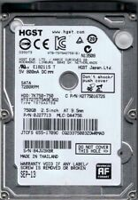 "Clean! Hitachi HGST - 750GB - 7200 RPM - 2.5"" SATA Internal Hard Drive 0J27713"