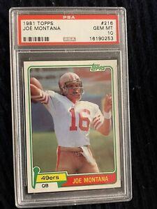 1981 Topps Football Joe Montana ROOKIE RC #216 PSA 10 GEM MINT