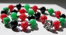 Retro Women's Jewellery Art Deco Retro Multicolour Stones Green Black Necklace