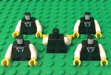 Lego X5 New Black Town Vest W/ striped Tie Pattern,white Arms Mini Figures Torso