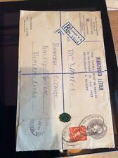 B9h Registered Letter Envelope Only Stamped Franked 1954