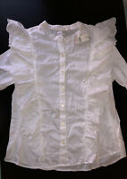 NEW GAP Women's Blouse Bottoms Relaxed Fit White Size M 100% Cotton - Authentic