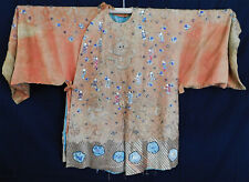 Antique Chinese Dragon Gold Couching Figural Embroidered Opera Robe Costume Vtg