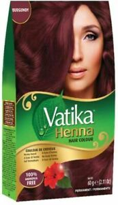 6 packs of Dabur Vatika Burgundy Henna Hair Color Powder NO AMMONIA Free Ship