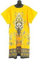 Womens Plus Size Yellow Peacock MUMU Zipper Caftan Kaftan Print M L XL 1 X 2X