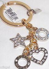 NWT Coach Key Chain Ring Rhinestone Pave Heart Star 62502 Silver Gold Crystal