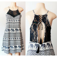 NEW Navy Blue Elephant High Neck Lace Up Racer Cutout Back Up Tassel Shift Dress