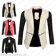 Women's Ladies PU Long Sleeve Zip Quilted Diamond Stitch Open Blazer Jacket Top