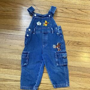 Winnie The Pooh Denim Overalls Toddlers 2T Cargo Pockets