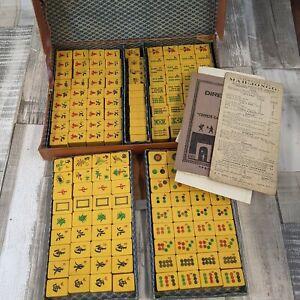 Vintage Yellow Mahjong Set - 156 Tiles
