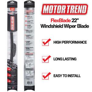 """All Season Wiper Blades Motor Trend 22"""" Front Windshield Bracketless J-HOOK-1 PC"""