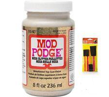 MOD PODGE MEGA GLITTER GOLD DISHWASHER SAFE 8OZ + 4 PCS FOAM BRUSH SET CS17292
