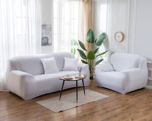 Silk Stretch Sofa Covers Set Slipcover Nonslip Sectional 2 3 4-Seater Protector
