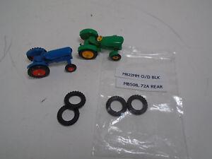 MATCHBOX 22MM O/D BLK PLASTIC TIRES! FITS 72A FORDSON,50B JOHN DEERE.REAR 1 PAIR