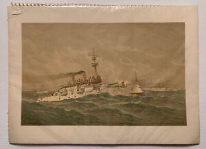 Fred Cozzens 1892 Lithograph Plate#8 USS Machias, USS Castine, USS Massachusetts