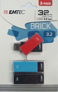 """EMTEC 32gb USB3.2 Flash Drive """"BRICK"""" 3-PACK Model: ECMMD32GC353P3 [F52]"""