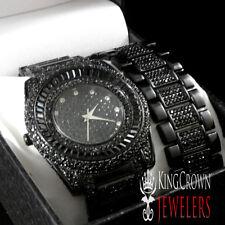 BRAND NEW JET BLACK LAB DIAMOND SIMULATE BLINGMASTER WATCH BRACELET SET MEN'S