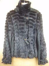 Roberto Cavalli Women's Black Coat Jacket Leather Real Fur Size 48 US 12 Large