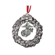 USMC Wreath Charm Pewter Ornament USMCOR202. Made in USA.