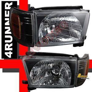 Black Headlights Corner Signal Lights RH + LH For 1999-2002 Toyota 4Runner