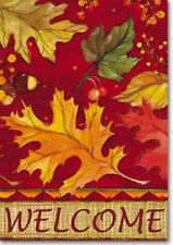 "WELCOME TOSSED LEAVES FALL AUTUMN ACORNS YARD GARDEN FLAG 12.5""  X 18"""