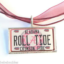 University of ALABAMA UA Crimson Necklace Silver Sp Licensed Logo Roll Tide New
