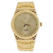 Mens Techno Pave Gold Plated Lab Diamond Dial Full Nugget Style Metal Band Watch