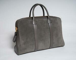 Tom Ford New Gray Suede & Smooth Leather Large Buckley Men's Briefcase