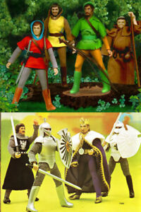 "1974 SUPER KNIGHTS ROBIN HOOD 8"" mego figure -- BELT KNIFE SHIRT SHOES SUIT"