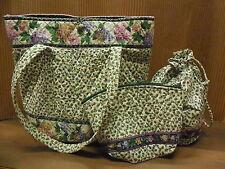Vera Bradley 3 Pc Set Lilac Time Shopper Tote Bag Drawstring Ditty & Cosmetic
