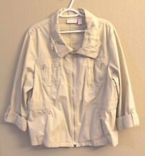 CHICOS 3 Bush Jacket Khaki Pockets ADJ Sleeves Elastic Back