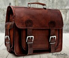 Medium Brown Vintage Style Leather Satchel Briefcase Laptop Bag RRP £89.99
