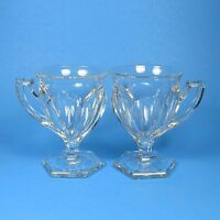 US Glass Co GEORGIAN Footed Pedestal Punch Cups Set of 2 Colonial Panel Mugs Cup