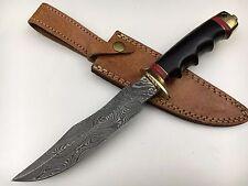 "Ash dA75m damascus steel handmade hunting bowie knife 12"""