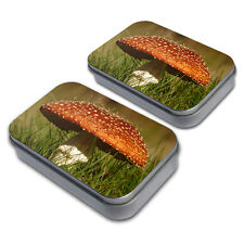 Fly Agaric Amanita Mushroom Decorative Craft Trinket Metal Tin Box Set of 2