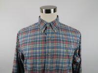 Polo Ralph Lauren Mens Classic Fit LS Button Down Pink Blue Plaid Dress Shirt L