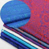 Satin Silk Brocade Jacquard Flower Fabric Chinese Vintage Costume Dress Craft